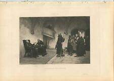 ANTIQUE MONK ABBEY MISSIONARY PLAYING CHESS GAME MONKEY PINEAPPLE COMEDY PRINT
