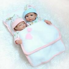 Twins Reborn Bath Baby Doll Lifelike Couple Mini Full Silicone Xmas Gift Collect