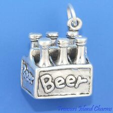Heavy 6-Pack Of Beer Bottles Sixpack 3D .925 Sterling Silver Charm Pendant
