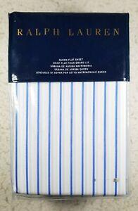 Ralph Lauren Home Prescot Stripe 1 Queen Flat Sheet Blue / White Cotton New $185