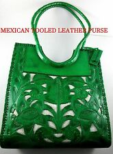 Mexican~Cut Out Floral Design over Jute~GREEN~Well Made~Tooled Leather Purse