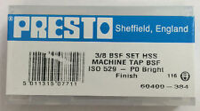 """Presto UK 3/8"""" x 20tpi HSS BSF Set of 3 taps / Direct from RDGTools"""