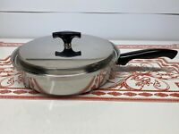 Vintage Kitchen Craft Stainless 3 Ply Skillet Pan With Lid Very Clean