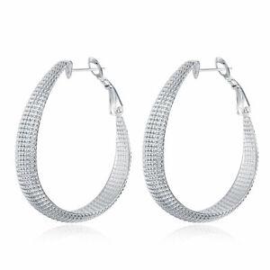 925 Sterling Silver Hoop Earrings Textured Large U Hoop Fancy Uk Seller