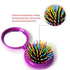 Rainbow Volume Massage Hair Brush Pocket Size Round Hair Brush Comb With Mirror