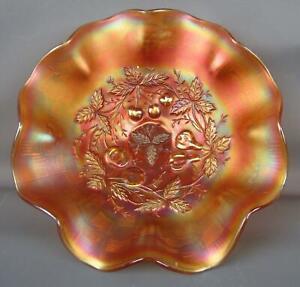 7800 Northwood THREE FRUITS MEDALLION Marigold Carnival Glass Dome-Foot Bowl