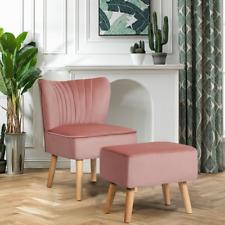 Leisure Chair and Ottoman Padded Velvet Tufted Sofa Armless Set