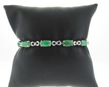 "Fine Jewelry Green Jades Solid 18k White Gold Bracelet 6.25"" Small Wrist"