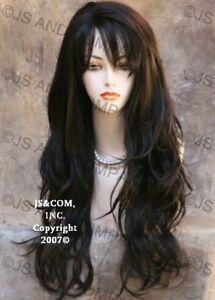 Human Hair Blend Full Wig Heat OK LONG Wavy Layered Darkest Brown WBKT 2