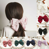 Big Bow Hair Clip Satin Barrette Hairpin Solid Color Ponytail Hair Accessories
