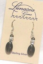 Silver Bead Dangle Earrings New Lunasea Treasures Smoky Quartz Gemstone Sterling