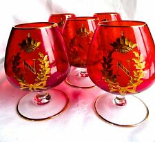 NAPOLEON COGNAC COURVOISIER GLASSES STEMWARE GOLD CROWN WREATH INITIAL N RARE