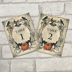 Spooky Halloween Wedding Table Numbers Name Cards Party Sign