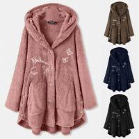 Womens Teddy Bear Fleece Hooded Coat Fur Fluffy Jacket Jumper Outwear Plus Size