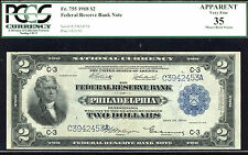1918, $2 Fr 755 Frbn - Rare- only 15 notes reported! Pcgs 35 -Minor rust spot