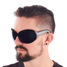 BIG Gothic GOTH INDUSTRIAL Bugeye Bug Eye Bono WRAP Sunglasses Black