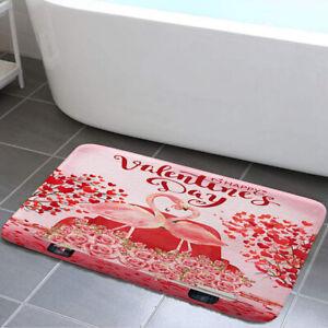 Flamingo Pink Valentine Bath Mat Flannel Rug Anti-slip Floor Mat Door Mat