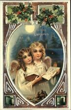 Christmas Angels Singing EMBOSSED REPRO 1982 From c1910 Postcard