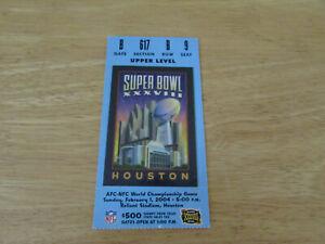 2004 Super Bowl XXXVIII 38 Ticket Stub Patriots v Panthers Tom Brady MVP