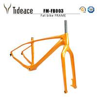 2020 26er Snow Bicycle Carbon Fiber Metallic Gold Glossy BSA Fat Bike Frames OEM