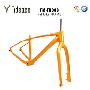 2020 26er Snow Bicycle Carbon Fiber Metallic Gold Glossy BSA Fat Bike Frames OEM