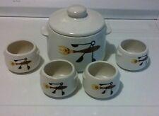 Vintage 1950's West Bend Bean Pot Stoneware Mid Century With 4 Bowls