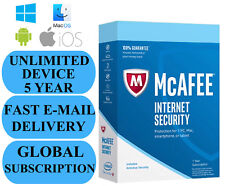 McAfee Internet Security UNLIMITED DEVICE 5 YEAR (SUBSCRIPTION) 2019 NO KEY CODE