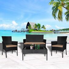 4 PC Wicker Rattan Patio Set Cushioned Furniture Outdoor Lawn Sectional Seat