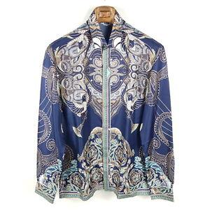 Versace Collection Seidenhemd Herren 40 41 Batik Print Trend Silk Shirt Neu