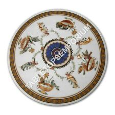 """30"""" White Marble Coffee Top Table Marquetry Bird Art Inlay Furniture Decor E1056"""