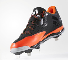 Adidas PowerAlley 4 Men's Baseball Cleats Shoes Black/Orange Size 13 Retail $75
