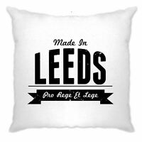 Hometown Pride Cushion Cover Made in Leeds Banner Novelty Logo Slogan Design