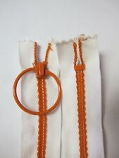 "Vintage NOS Talon Zipper White & Orange Ring Pull 21"" Closed End 21 inches"