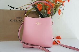 NWT COACH 1011 Small Town Bucket Bag Refined Pebble Leather Bubblegum/Wine $350