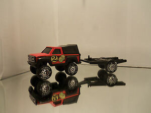 1984 Buddy L Steel Chevy Pickup Truck W/ Bed Cab & Matching Trailer - Loose 1/48