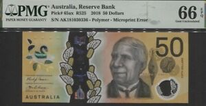 TT PK 65ax 2018 AUSTRALIA RESERVE BANK 50 DOLLARS PMG 66 EPQ GEM UNCIRCULATED!