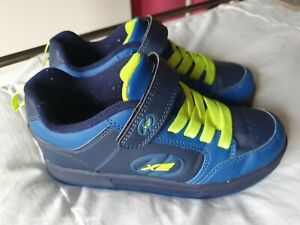 Heelys X2 UK Size 3 Blue with Neon Green Laces