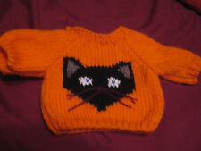 Customized Halloween Black Cat Sweater Handmade for 14 inch Build A Bear Cub