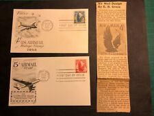 Air Mail 4c/5c First Day Issue Postcard(1954 Pa/1958 Colo)+newspaper paper clip