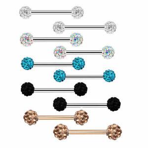1Pair CZ Nipple Bar Ring Stainless Steel Nipple Rings Body Piercing Jewelry