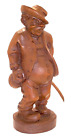 "Black Forest Hand Carved Wood MAN LEAVING TAVERN Wine Bottle & Stick, 8"" Tall"