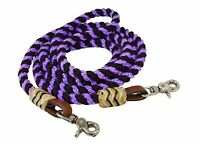 Showman 8' PURPLE Braided Nylon Barrel Reins W/ Rawhide Accents! NEW HORSE TACK!