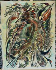 """Gabrielle Bouffay (Née en 1930) - """"L'oiseau inquiet - Gouache aquarellée signée"""