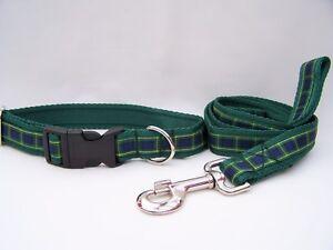 Handmade Gordon Tartan Dog Collars or collar and lead sets