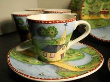 """Sango """"Green Acres"""" flat cup and saucer set Country House Churches Farm Horses"""