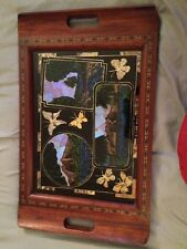 ANTIQUE WOOD TRAY WITH  Real BUTTERFLY WING SCENE UNDER GLASS BUENOS AIRES 1940s