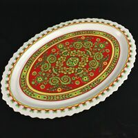 VTG Oval Platter By Sango One World Belgrade Floral Scalloped 8007 Japan 15 1/2""