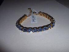 """Park Lane Jewelry, """"IMPRESSION"""" Bracelet, Goldtone, Blue CZ's, NEW!!!"""