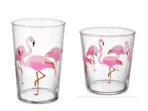 FLAMINGO PRINT GLASS IKEA SOMMARFINT PINK SMALL OR LARGE PINK GLASS 1pk 2pk