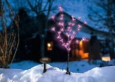 Cherry Blossom Xmas Tree 18 Inch Tall with 20 Pink Flower Solar Garden Led Light